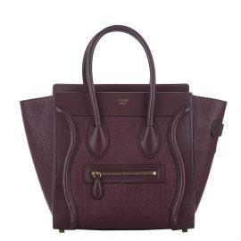 Celine Burgundy Leather Luggage Tote Bag