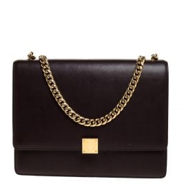 Celine Dark Burgundy Leather Large Case Chain Flap Shoulder Bag