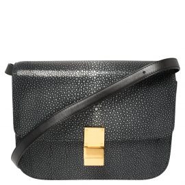 Celine Dark Grey/Black Stingray and Leather Medium Classic Box Shoulder Bag