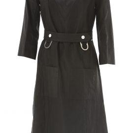Celine Dress for Women, Evening Cocktail Party On Sale in Outlet, Black, Washed Linen, 2021, 10 8
