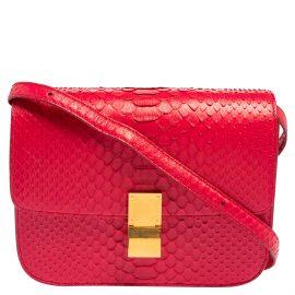 Celine Fuchsia Python Medium Classic Box Shoulder Bag