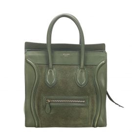 Celine Green Leather Luggage Tote Bag