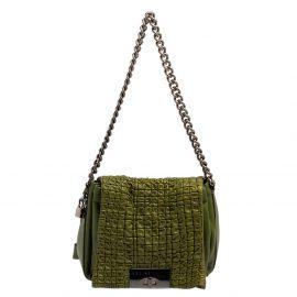 Celine Green Leather Watch Me Flap Shoulder Bag