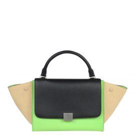 Celine Green/Beige Leather Trapeze Satchel Bag