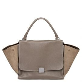 Celine Grey Leather And Suede Medium Trapeze Top Handle Bag