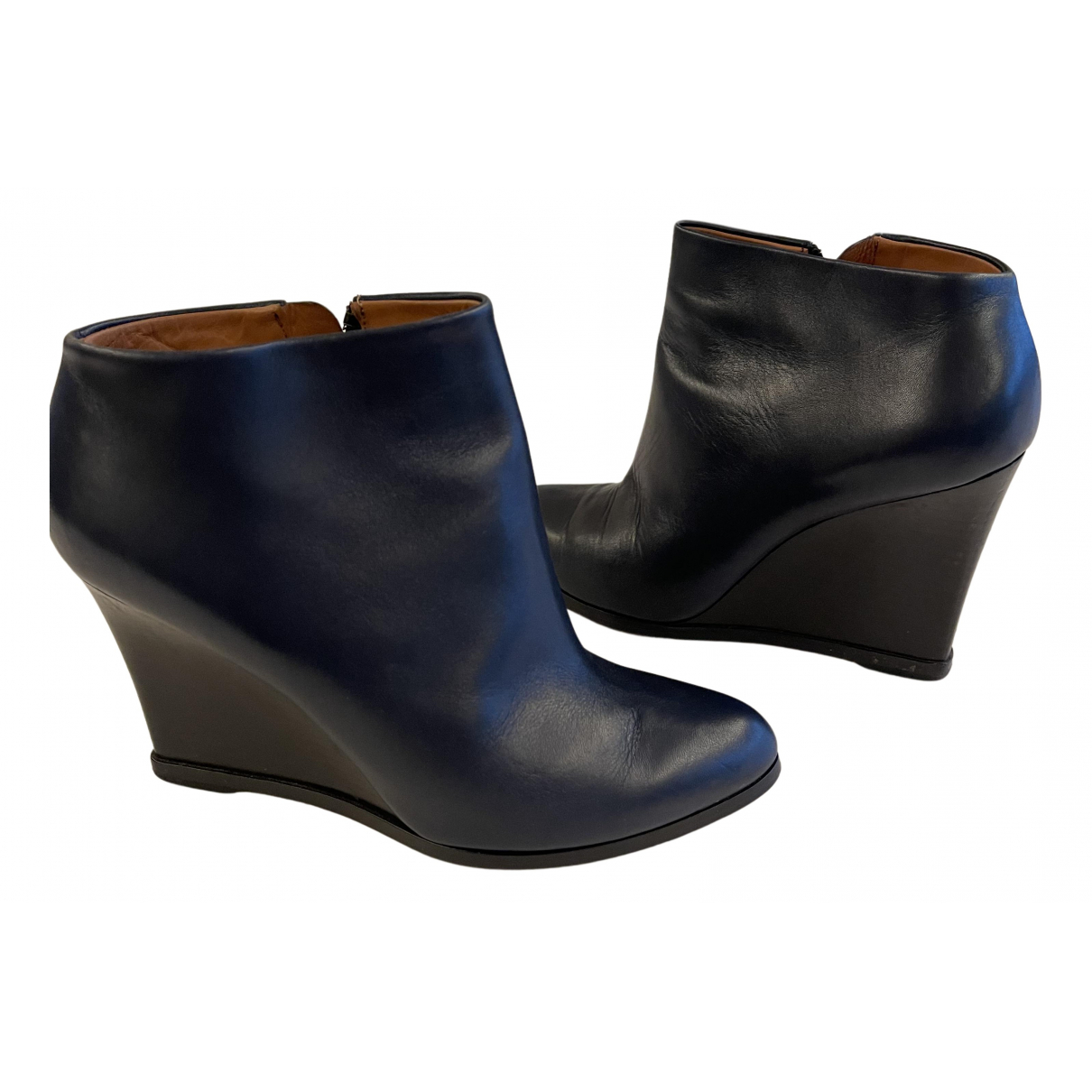 Celine N Navy Leather Ankle boots for Women