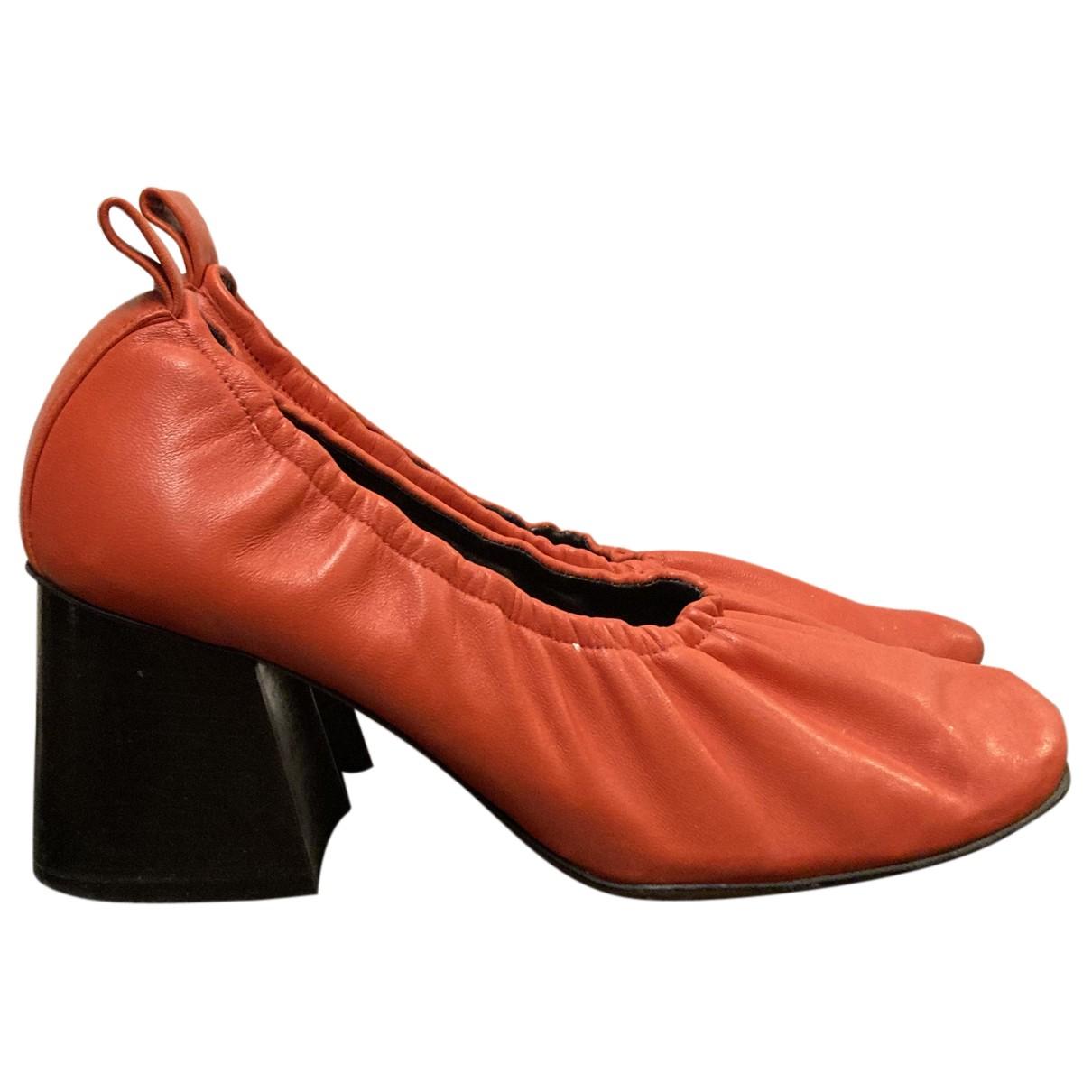 Celine Soft Ballerina Red Leather Heels for Women