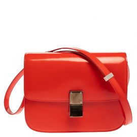 Celine Tangerine Leather Medium Classic Box Shoulder Bag