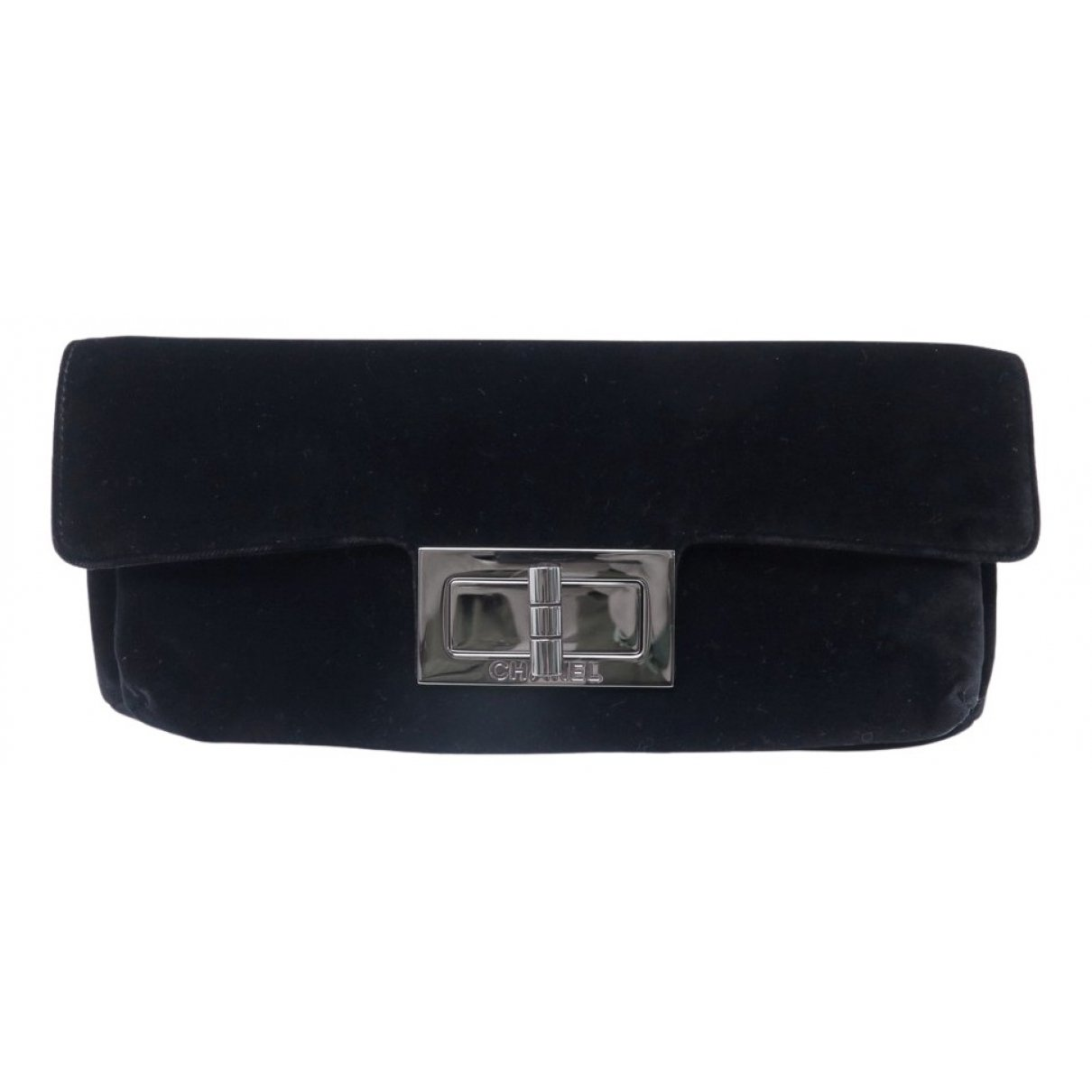 Chanel 2.55 Black Velvet Clutch Bag for Women
