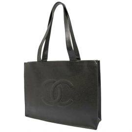 Chanel Black Caviar Leather Timeless Tote Bag