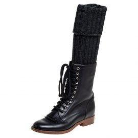 Chanel Black Leather And Knit Fabric Sock Combat Boots Size 38