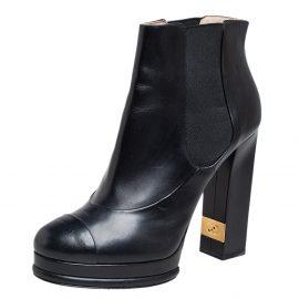Chanel Black Leather CC Platform Chelsea Boots Size 41