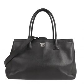 Chanel Black Leather Cerf Tote Bag