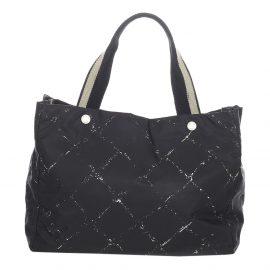 Chanel Black Nylon Old Travel Line Tote Bag