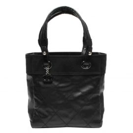 Chanel Black Quilted Coated Canvas Paris Biarritz Tote Bag