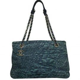 Chanel Blue Denim Leather Camellia Tote Bag