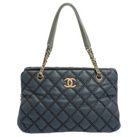 Chanel Blue Metallic Stitch Leather Tote