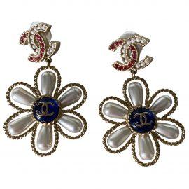 Chanel CC Gold Metal Earrings for Women