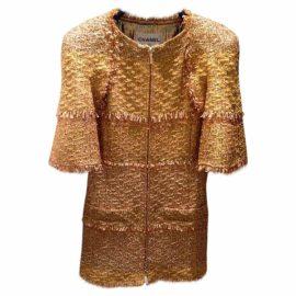 Chanel Chanel 2015 cruise Dubai Glitter Gold Tweed Dress Jacket