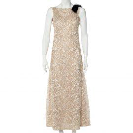 Chanel Cream Lurex Floral Lace Brooch Detail Maxi Dress M