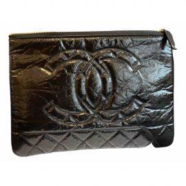 Chanel Gabrielle Black Leather Clutch Bag for Women