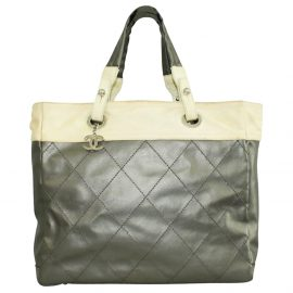 Chanel Gold Coated Canvas Biarritz Tote Bag