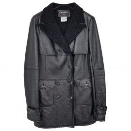 Chanel N Black Leather Coat for Women