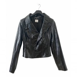 Chanel N Black Leather Leather Jacket for Women