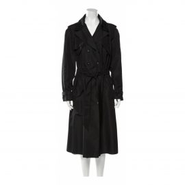 Chanel N Black Silk Trench Coat for Women