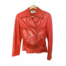 Chanel N Red Leather Jacket for Women
