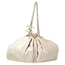Chanel Off-White Jersey Melrose Cabas Shoulder Bag