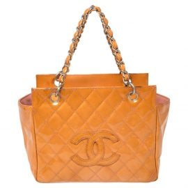 Chanel Orange Quilted Patent Leather Petite Timeless Shopper Tote