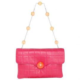Chanel Pink Lambskin Leather Choco Bar CC Shoulder Bag