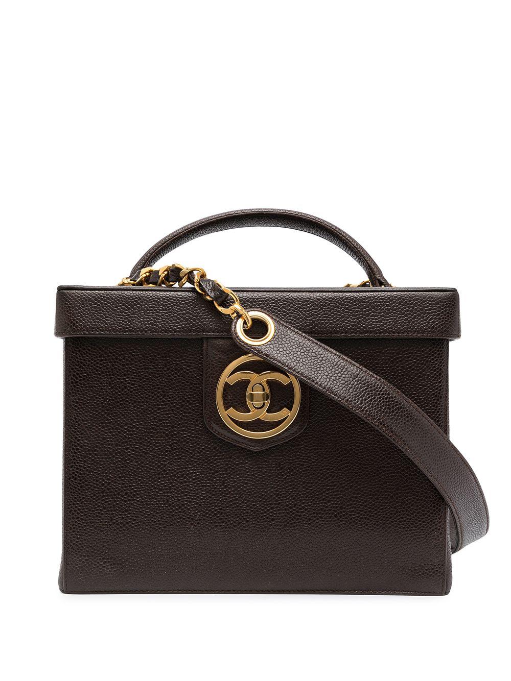 Chanel Pre-Owned 1992 CC turn-lock Vanity two-way bag - Brown