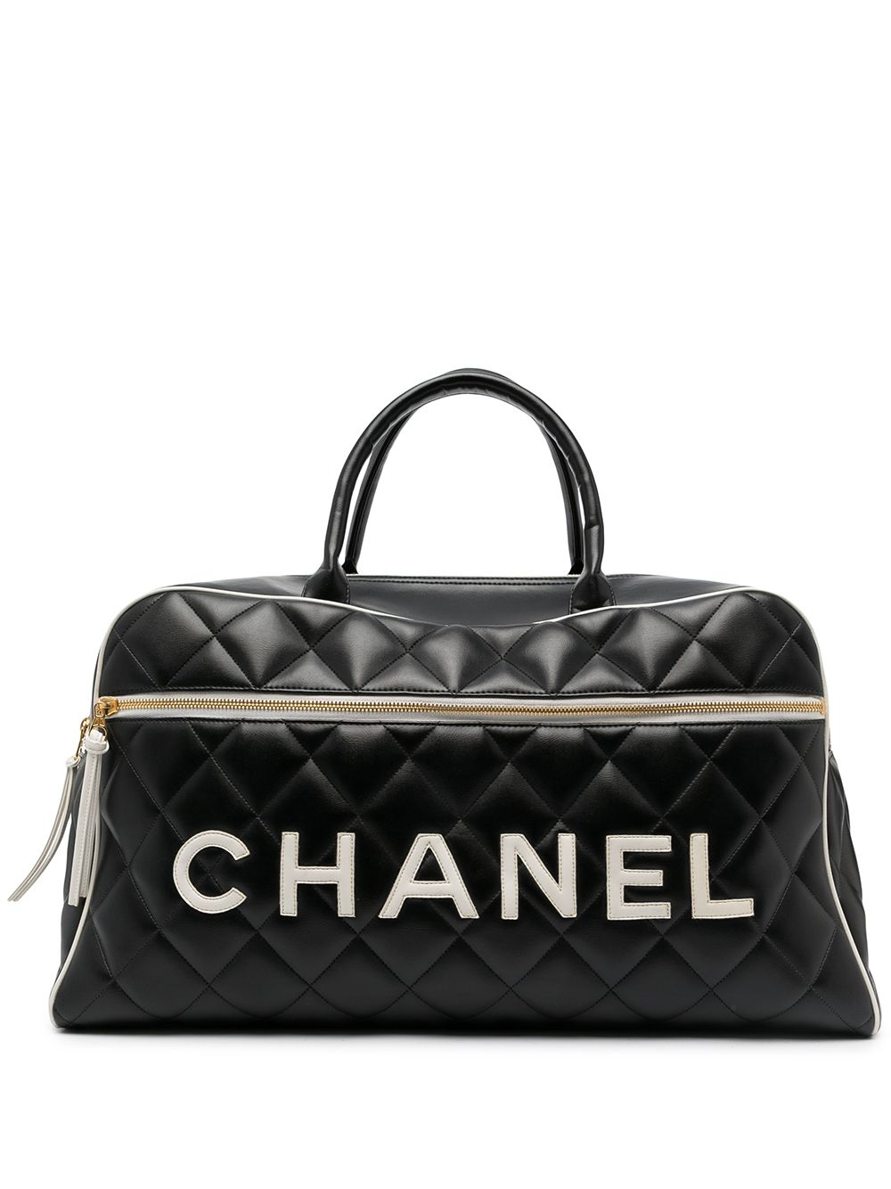 Chanel Pre-Owned 1995 diamond quilted logo Boston bag - Black