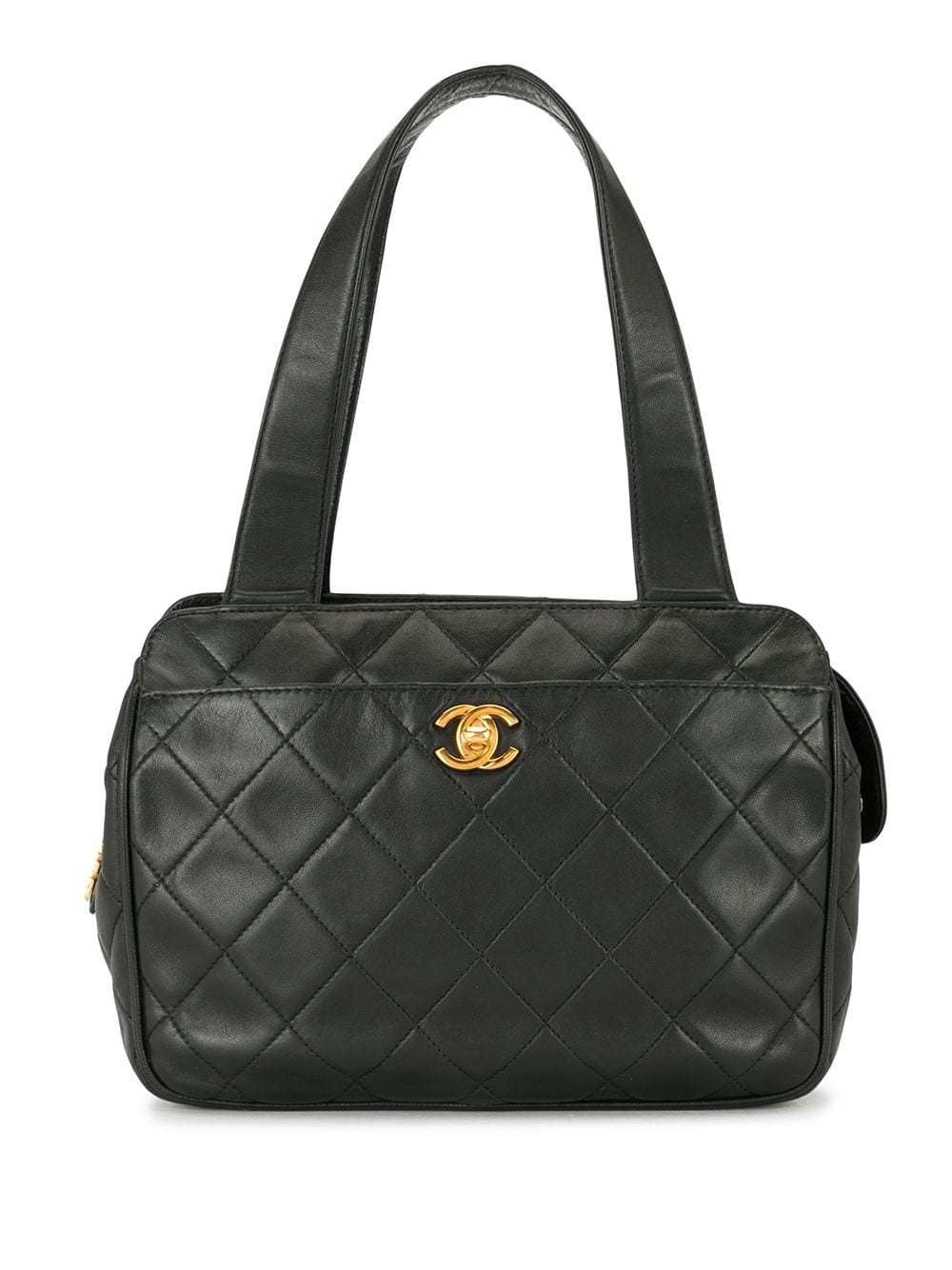 Chanel Pre-Owned 1997 diamond quilted CC tote bag - Black