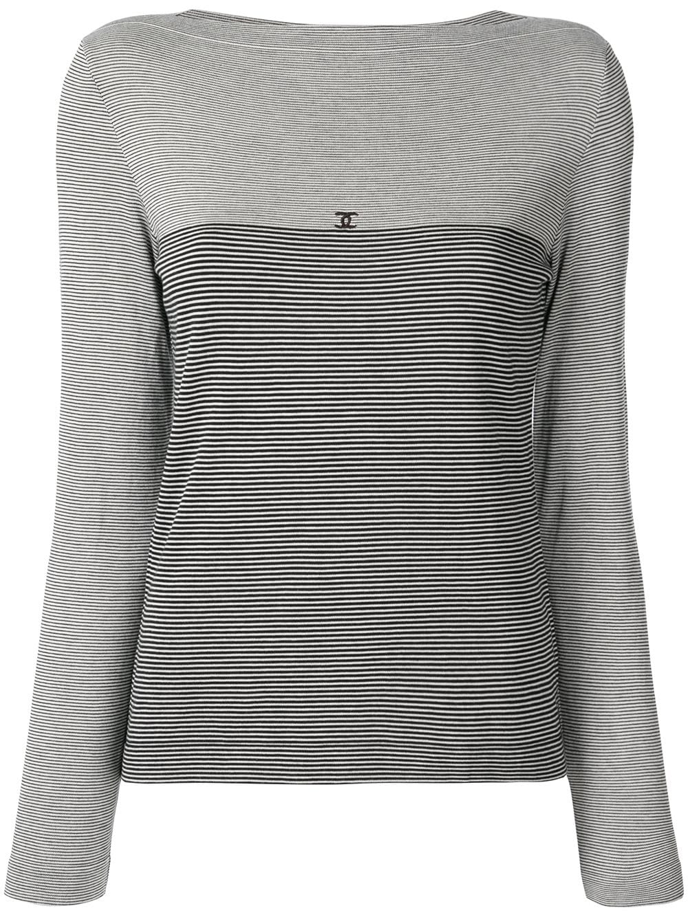 Chanel Pre-Owned 1997 slash neck striped blouse - Grey