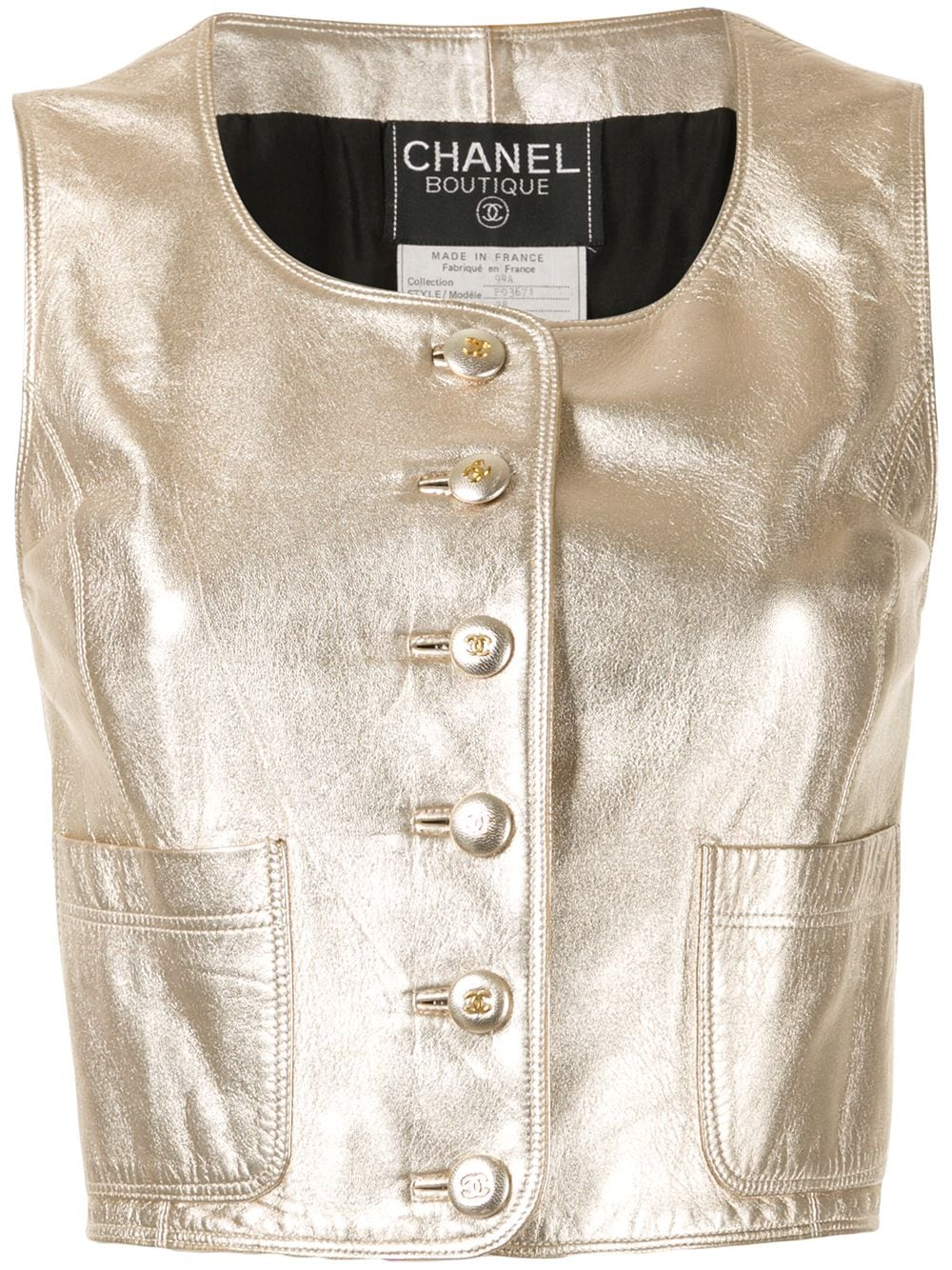 Chanel Pre-Owned cropped sleeveless leather top - GOLD