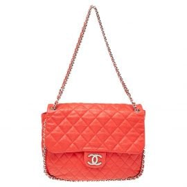 Chanel Red Quilted Leather Classic Single Flap Shoulder Bag