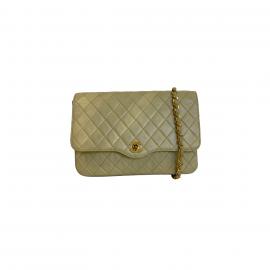 Chanel Shoulder Bag In Beige Lambskin Leather, Gold