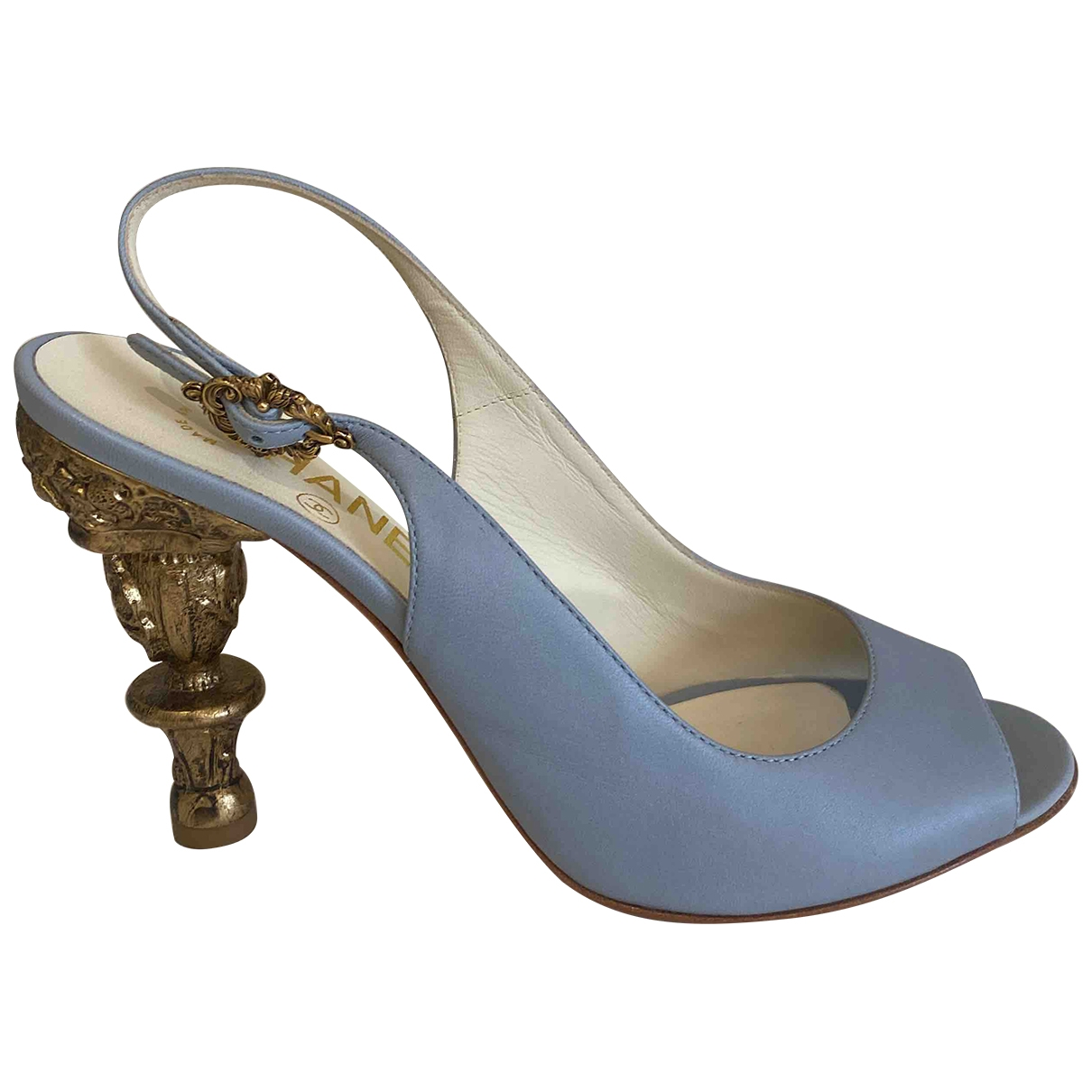 Chanel Slingback Blue Leather Heels for Women
