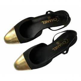 Chanel Slingback Gold Leather Ballet flats for Women