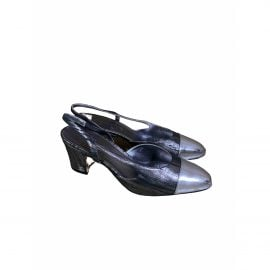 Chanel Slingback Silver Leather Heels for Women