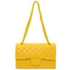 Chanel Yellow Lambskin Leather Flap Bag Shoulder Bag