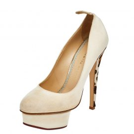 Charlotte Olympia Beige Fabric Dolly Platform Pumps Size 38