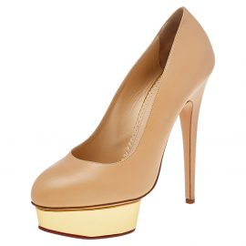 Charlotte Olympia Beige Leather Dolly Platform Pumps Size 40