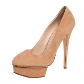Charlotte Olympia Beige Suede Dolly Platform Pump Size 40