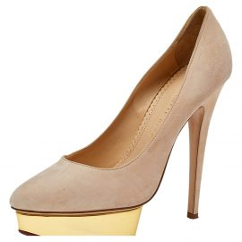 Charlotte Olympia Beige Suede Dolly Pumps Size 38.5
