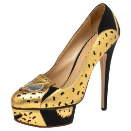 Charlotte Olympia Black/Gold Leather Ninivah Leopard Platform Pumps Size 39