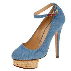 Charlotte Olympia Blue Denim Dolores Platform Ankle Strap Pumps Size 36.5